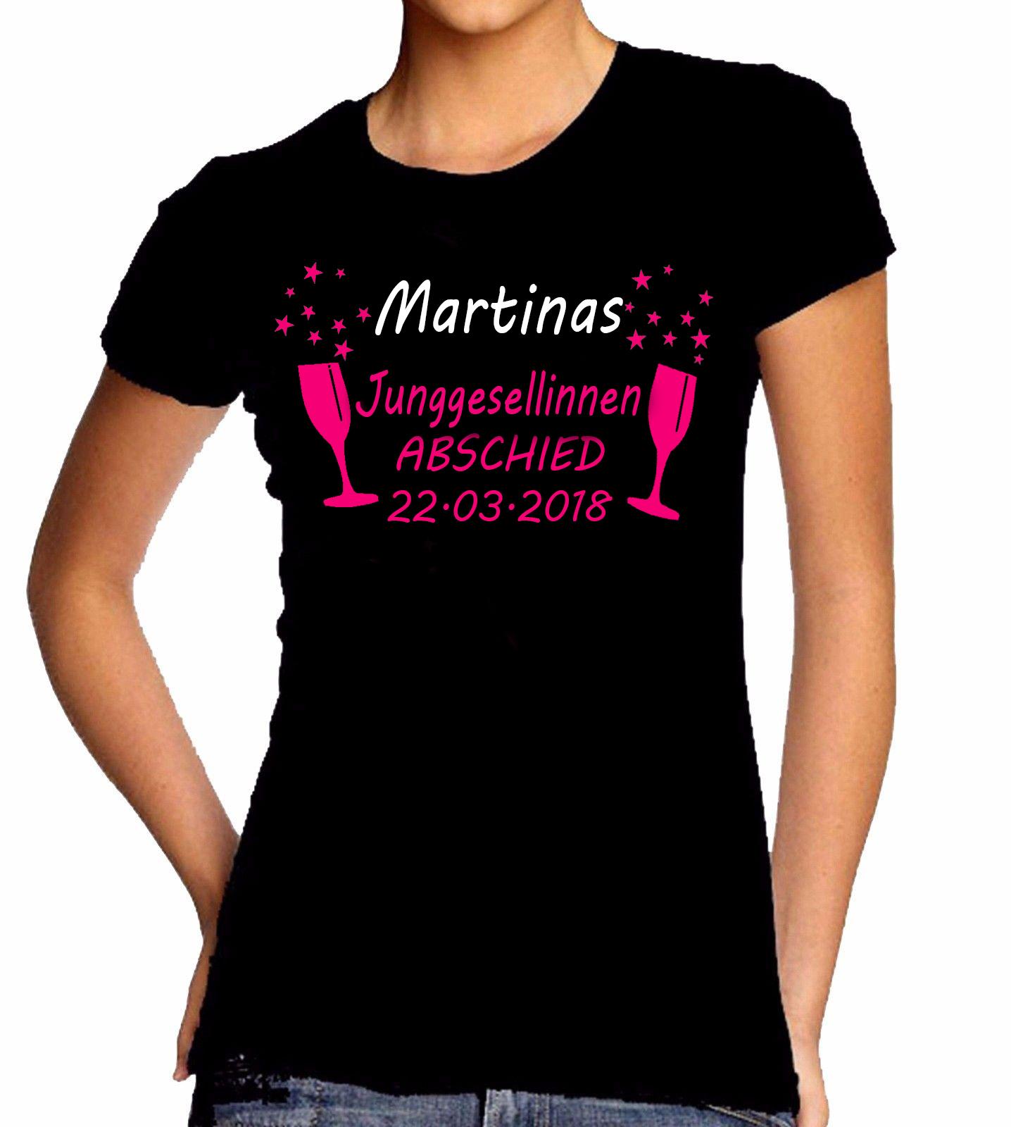 JGA Junggesellinnenabschied Tshirt Damen Party Hochzeit Name Datum Individuell